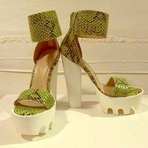 Like green snakeskin platform heels